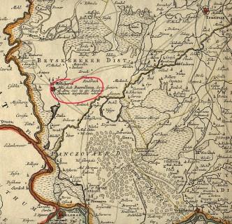 Situació de Nova Barcelona en un mapa de Banat de Temesvar del 1740