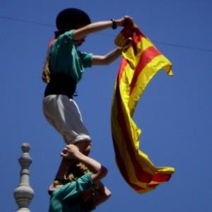 Castellers de Vilafranca a Xile amb la senyera